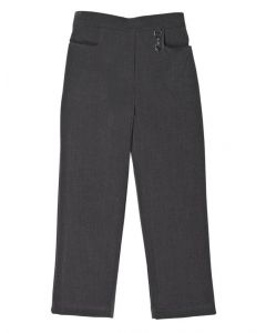 Half Elastic Girls School Trousers - Grey